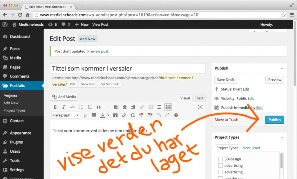 publish knappen